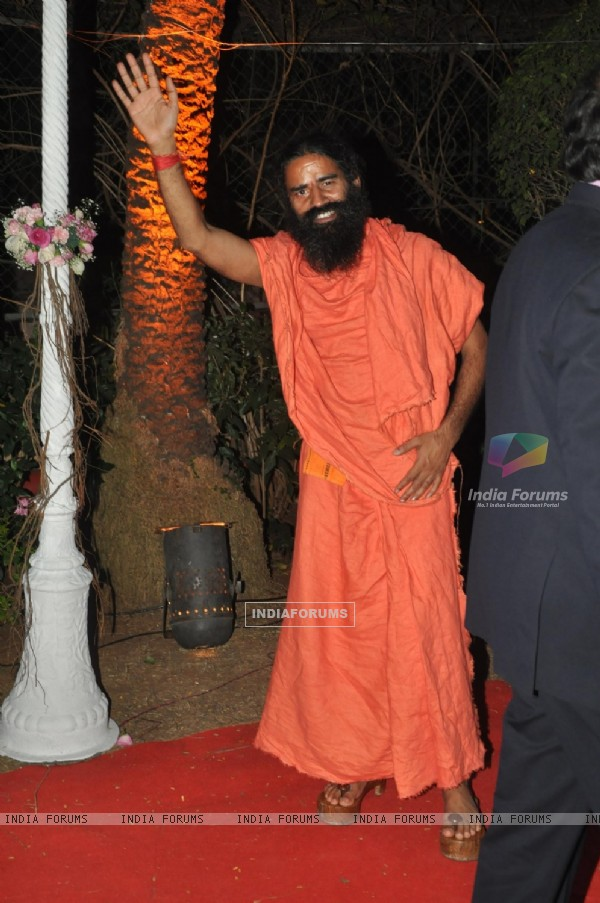 Ramdev Baba was seen at Ahana Deol & Vaibhav Vora's Wedding