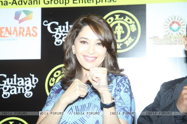Madhuri Dixit promotes 'Gulaab Gang' at Gold's Gym