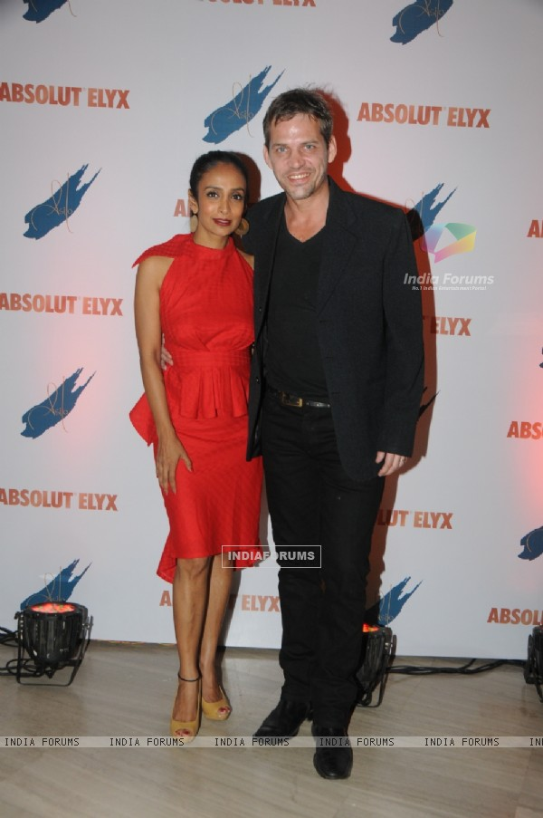 Suchitra Pillai with her husband at the Absolut Elyx Party
