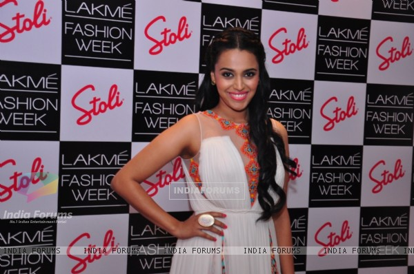 Swara Bhaskar was at the Stoli Lounge at Lakme Fashion Week