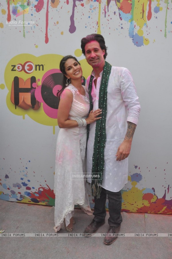 Sunny Leone with her husband at the Zoom Holi Party