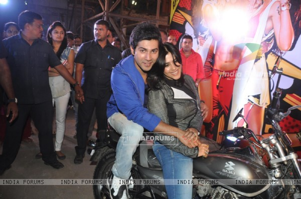 Ekta Kapoor and Varun Dhawan at the Bike rally to promote Main Tera Hero