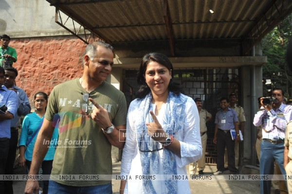 Priya Dutt votes at a polling station in Mumbai