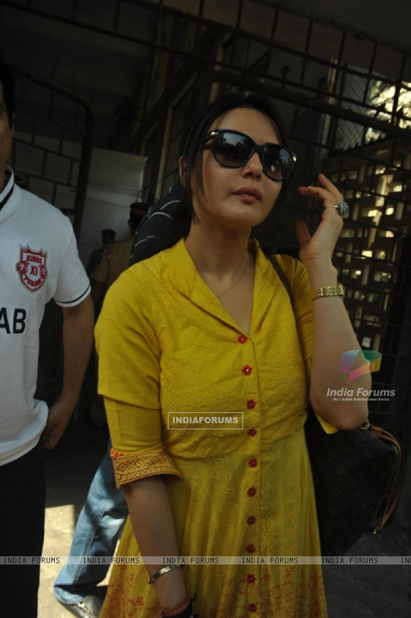 Preity Zinta votes at a polling station in Mumbai