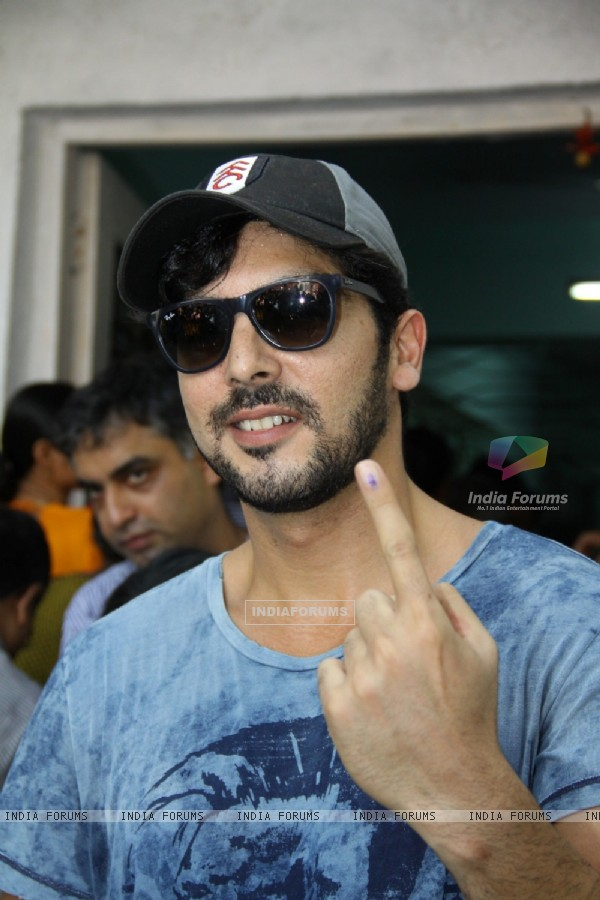 Zayed Khan shows his inked finger