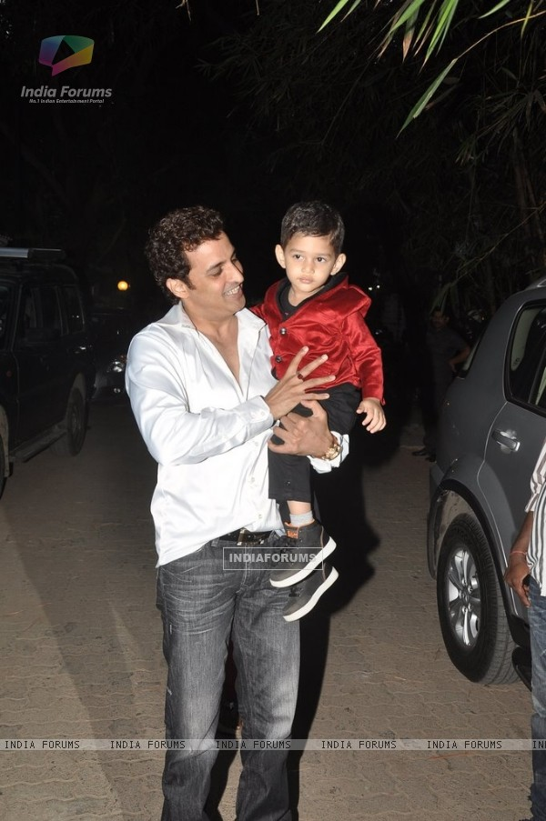 Ganesh Hegde with his son at Shilpa Shetty's Birthday Bash for her Son