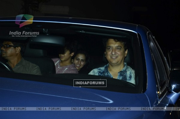 Sajid Nadiadwala with his family at the Special Screening of Heropanti