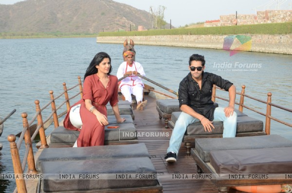 Armaan and Deeksha enjoying the boat ride at Jaipur