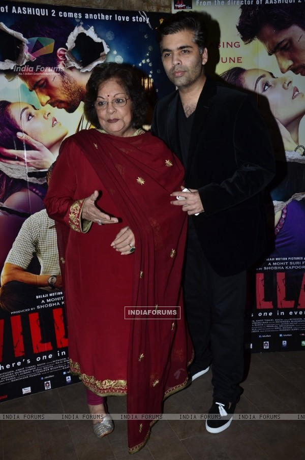Karan Johar with Hiroo Johar at the Screening of Ek Villiian