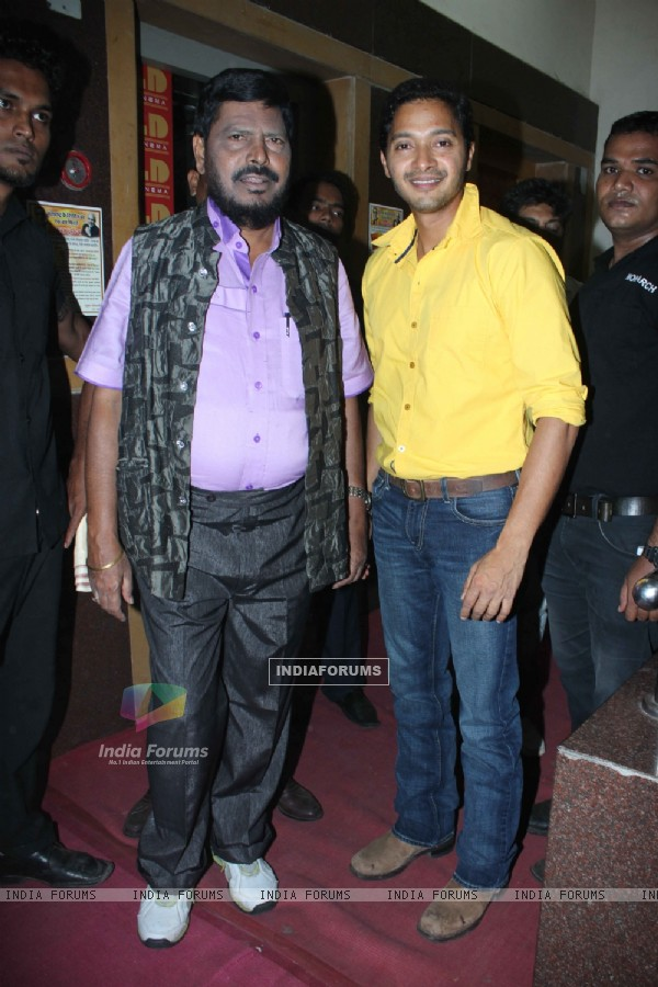 Ramdas Athawale and Shreyas Talpade at the Re-launch of Hindmata Theatre