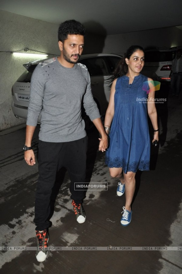 Riteish Deshmukh and Genelia Dsouza at Special screening of Bobby Jasoos