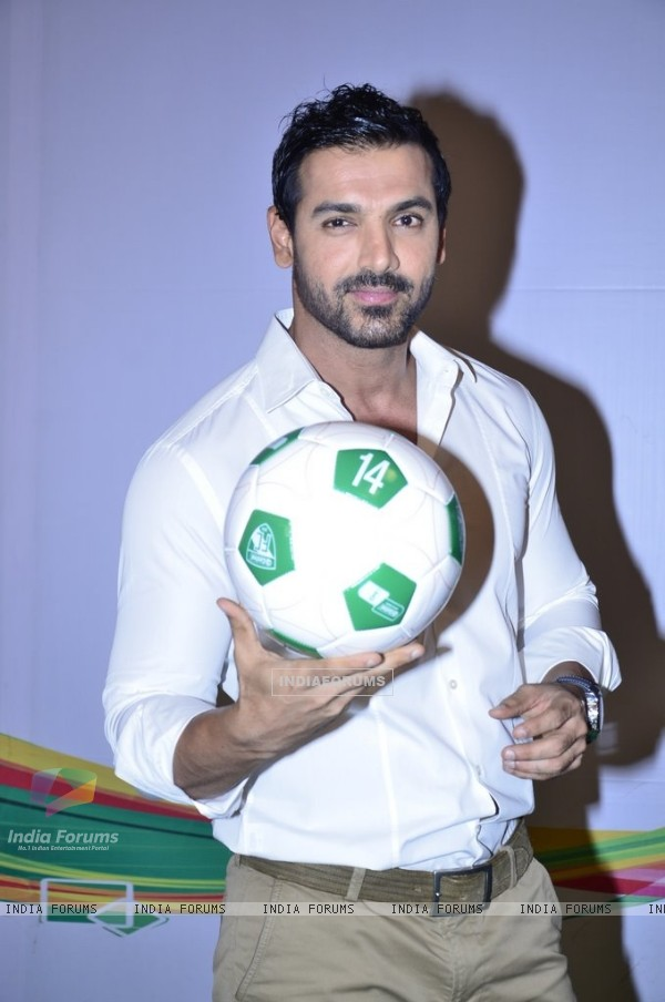 John Abraham shows a football trick at Castrol Photo Shoot