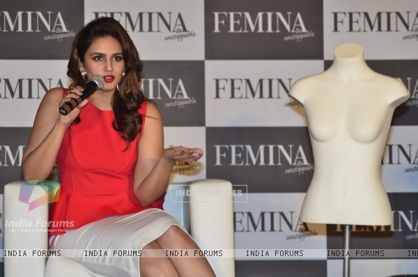 Huma Quereshi addresses the media at the launch of Femina Cover Issue