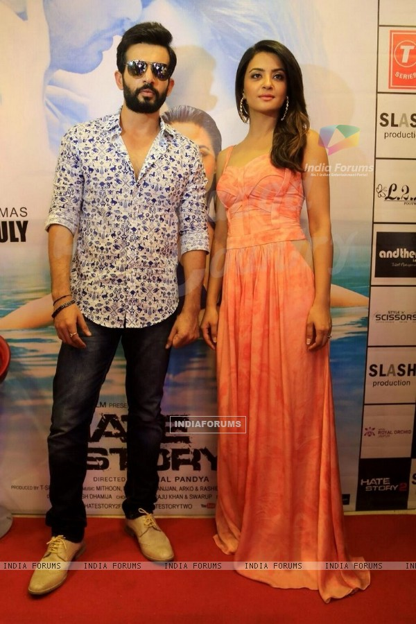 Jay Bhanushali and Surveen Chawla poses to media at the Promotions of Hate Story 2 in Jaipur