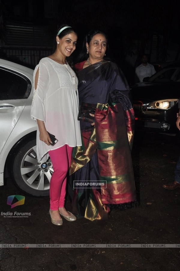 Genelia poses with her Mother-in-law at the Screening of Lai Bhari