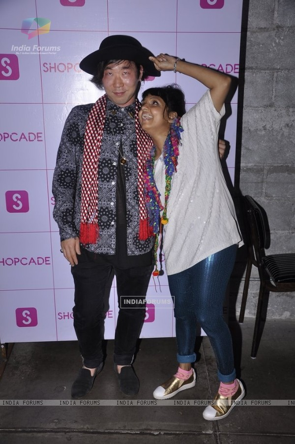 Little Shilpa poses with a guest at the Shopcade app launch