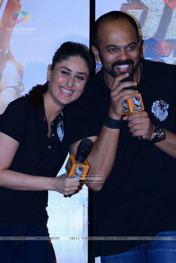 Kareena Kapoor and Rohit Shetty share a laugh