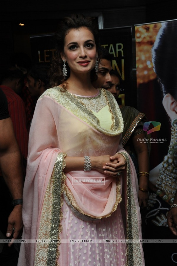 Dia Mirza poses for the media at the Teach for Change 2014 Fashion Show