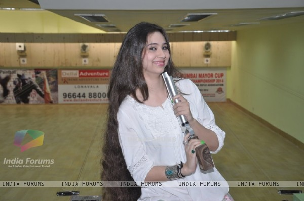 Sasha Agha poses with a gun at the Promotions of Desi Kattey