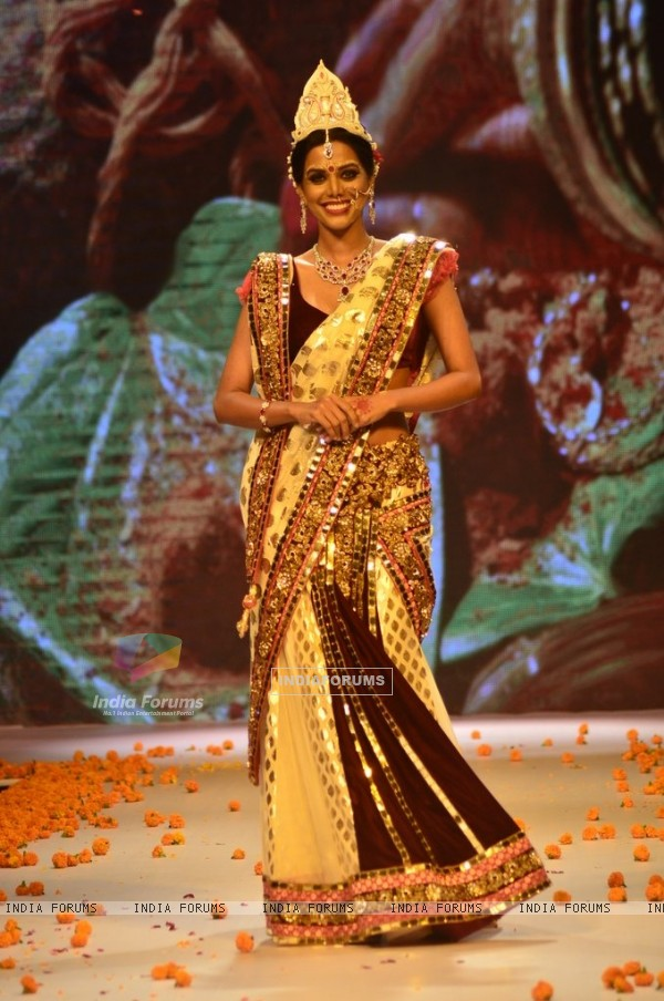 A model walks the ramp as a Bengali bride at the IIJW 2014 - Day 2