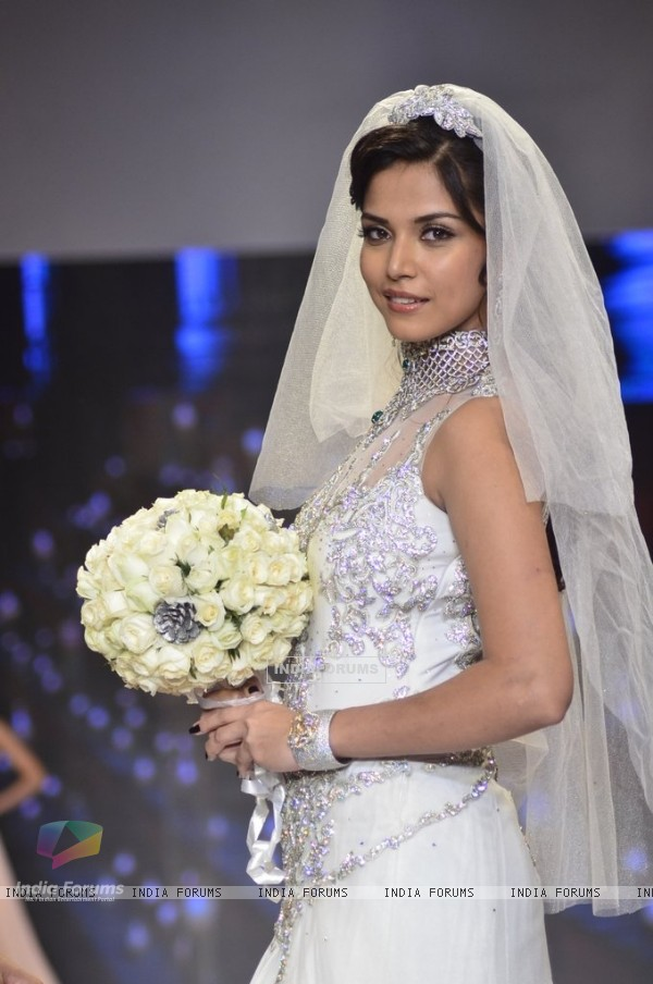 A model walks the ramp as a Christian bride at the IIJW 2014 - Day 2