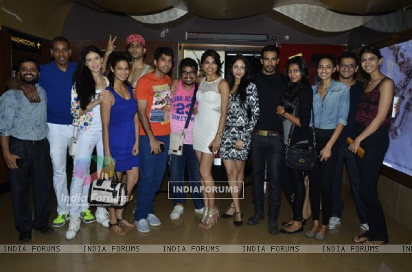 Parvathy Omanakuttan with her friends at the Special Screening of Pizza 3D