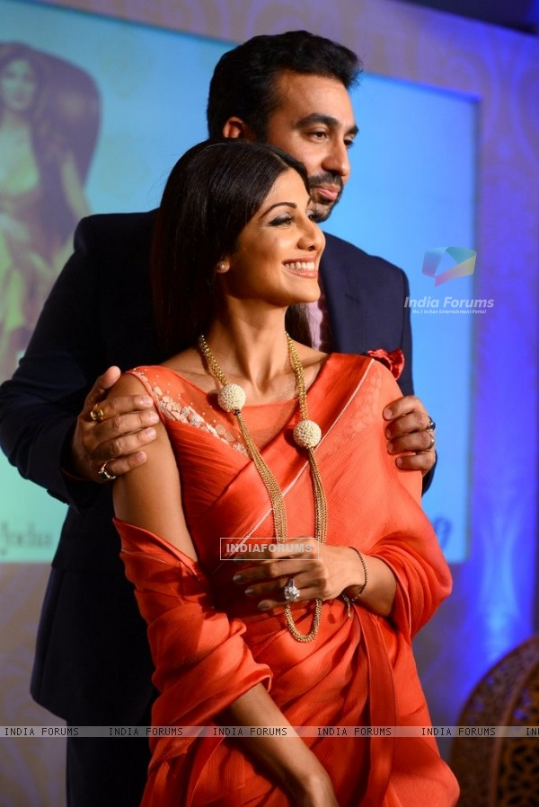 Shilpa Shetty and Raj Kundra give a lovely pose at the Launch of Goa Wedding Fest