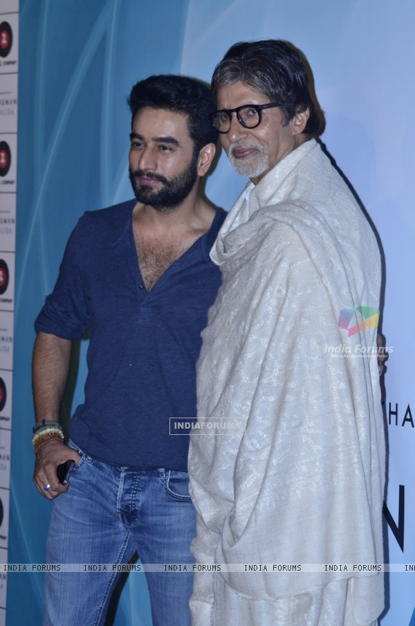 Shekhar Ravjiani poses with Amitabh Bachchan  Hanu at the Launch of his Hanuman Chalisa Album