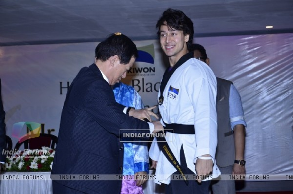 Tiger Shroff receiving his Black Belt at the Kukkiwon Award Ceremony