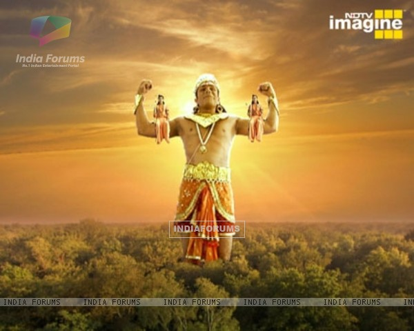 Hanuman with Ram and Lakshman