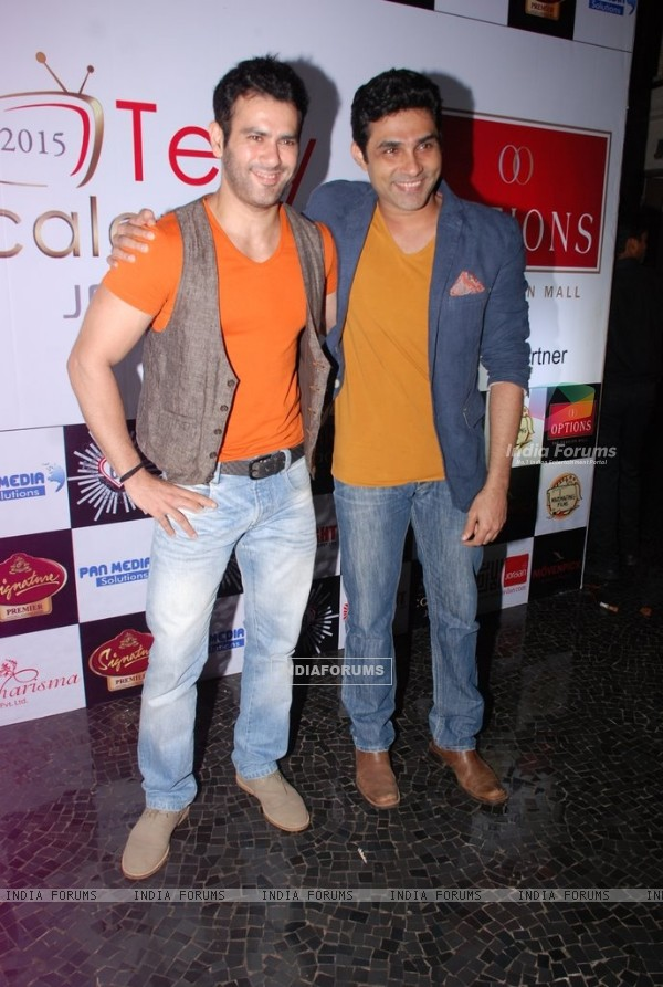 Mazher Sayed poses with a friend at Telly House Calendar Launch