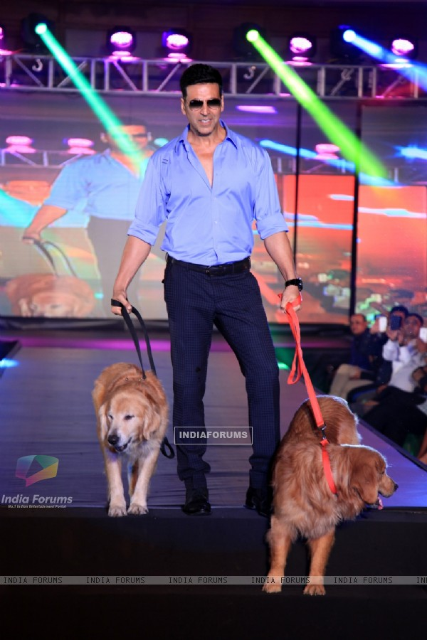 Akshay Kumar walks the ramp with a dog at the Promotions of Entertainment in Bangalore