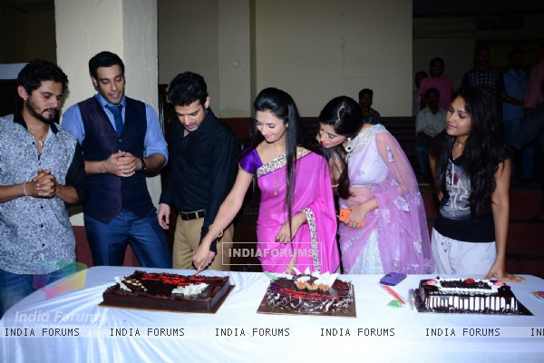 The cast cuts a cake as Ye Hai Mohabbatein completes 200 episodes