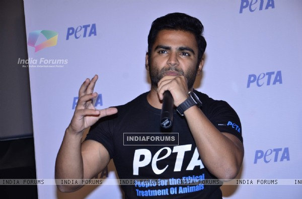 Sachin Joshi addressing the audience at the Peta Ad Launch