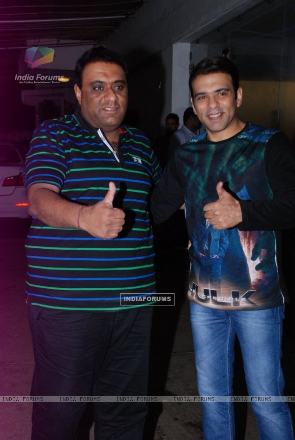 Sajid- Farhad poses for the media at the Special screening of Entertainment