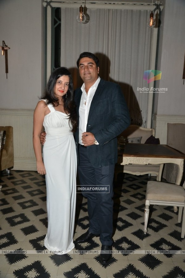 Amy Billimoria with her husband at Shama Sikander's Birthday Bash
