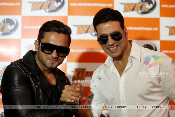 Akshay Kumar and Honey Singh pose for the media at the Launch of World kabaddi League in London