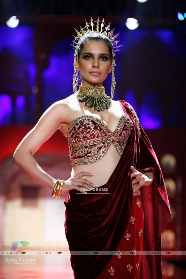 Kangana Ranaut walks the ramp at the Indian Bridal Fashion Week Day 3