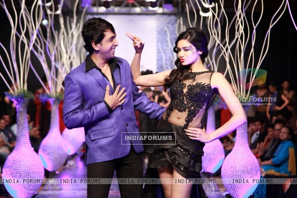 Adah Sharma walks the ramp with designer Ramesh Dembla at Bangalore Fashion Week Day 3