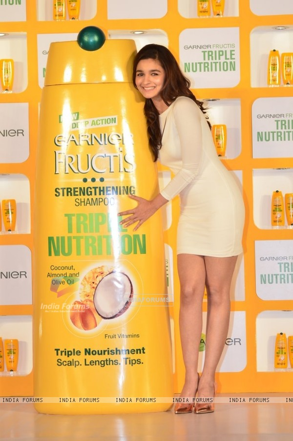 Alia Bhatt was seen at the launch of New Garnier Frutis Shampoo