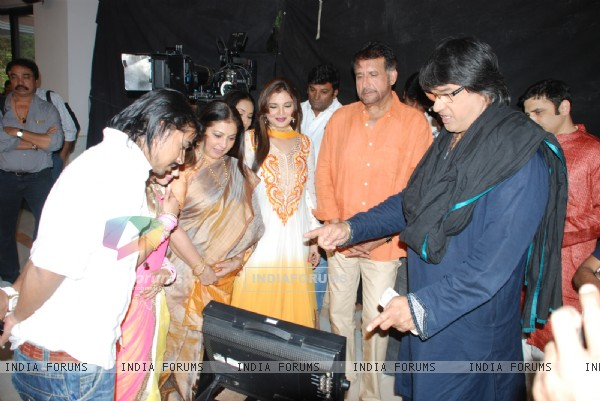 Mukesh Khanna snapped at the making of Star Studded National Anthem by Film Maker Raajeev Walia