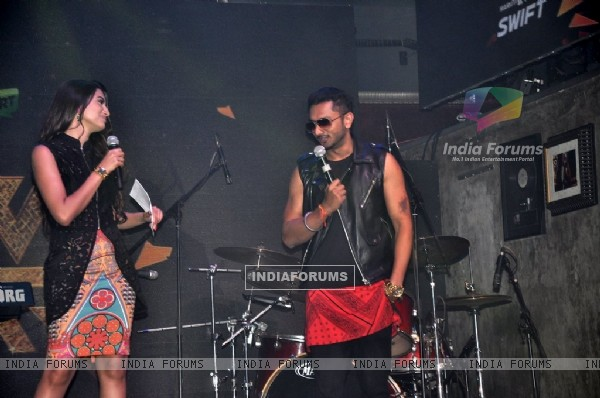 Gauahar Khan and Honey Singh at the Launch of India's Raw Star