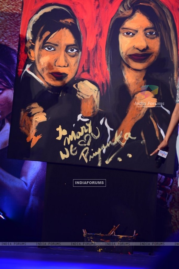 The painting gifted to Mary Kom by Priyanka Chopra at the Music Launch
