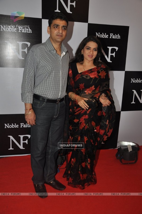 Shaina NC with husband at the Birthday Bash cum Launch