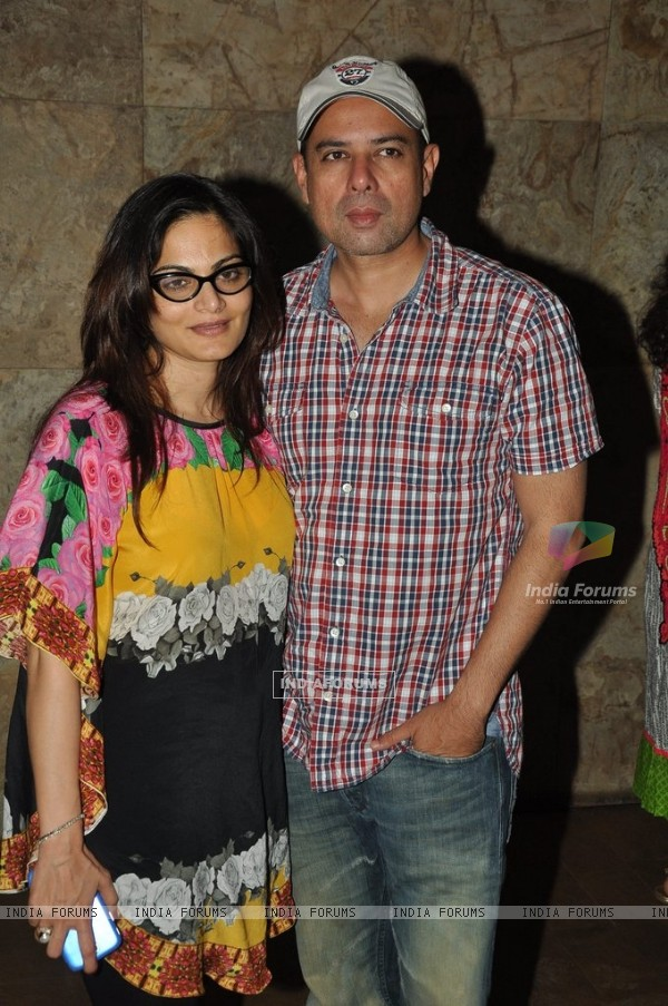 Atul Agnihotri with Alvira Khan was seen at the Screening of Singham Returns