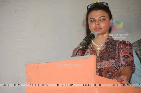 Rakhi Sawant addresses the gathering