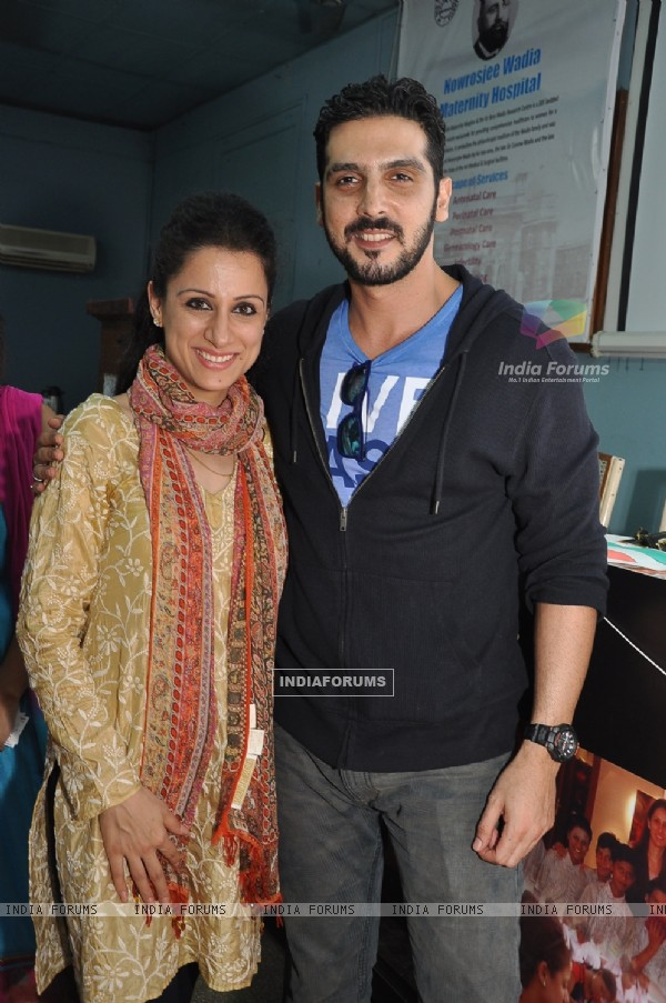 Zayed Khan poses with Rouble Nagi at her Art Workshop