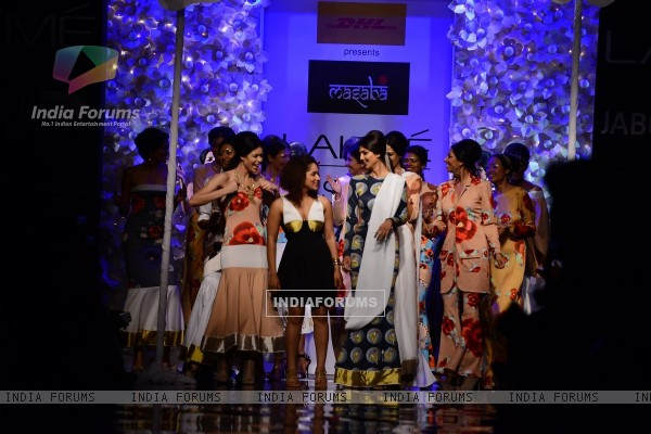 Shilpa Shetty walks the ramp with Masaba Gupta at Lakme Fashion Week