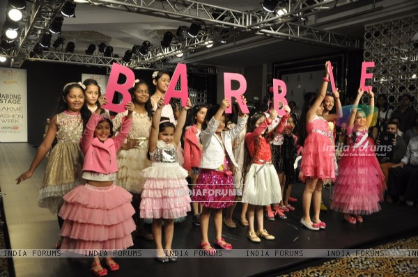 Kids walk the ramp for Barbie at the Lakme Fashion Week Winter/ Festive 2014 Day 2