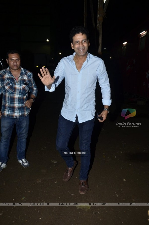 Manoj Bajpai waves to the media at the Launch of Sanjay Kapoor's Movie 'Tevar'